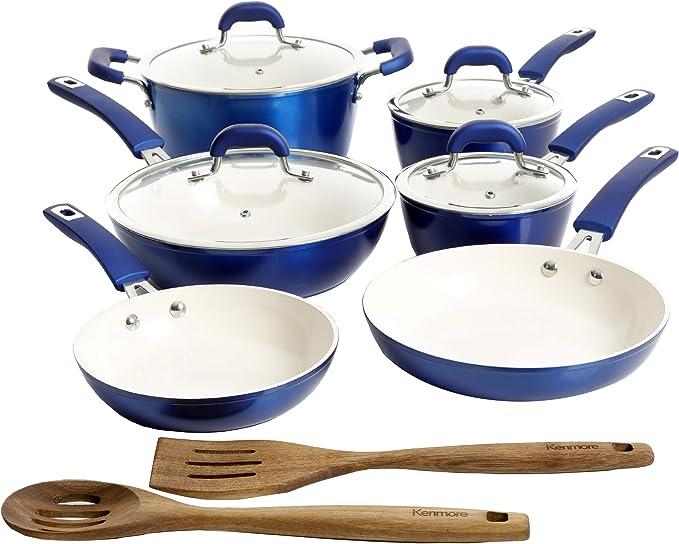 Kenmore Arlington Ceramic Coated Nonstick Aluminum Cookware Set, 12-Piece, Metallic Blue