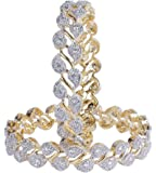 MUCH MORE Collection Zircon made Gold Plated Diamontic Bangle Set for Girls and Women