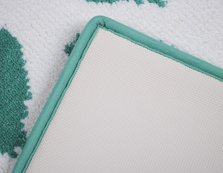Wave-Jade 34 x 21 Fabbrica Home Non-Slip Bath Kitchen Accent Memory Foam Rug Mat