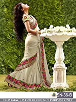 Pramukh Enterprise Women's Georgette Saree With Blouse Piece (Sn-36-B, Off White, Free Size)