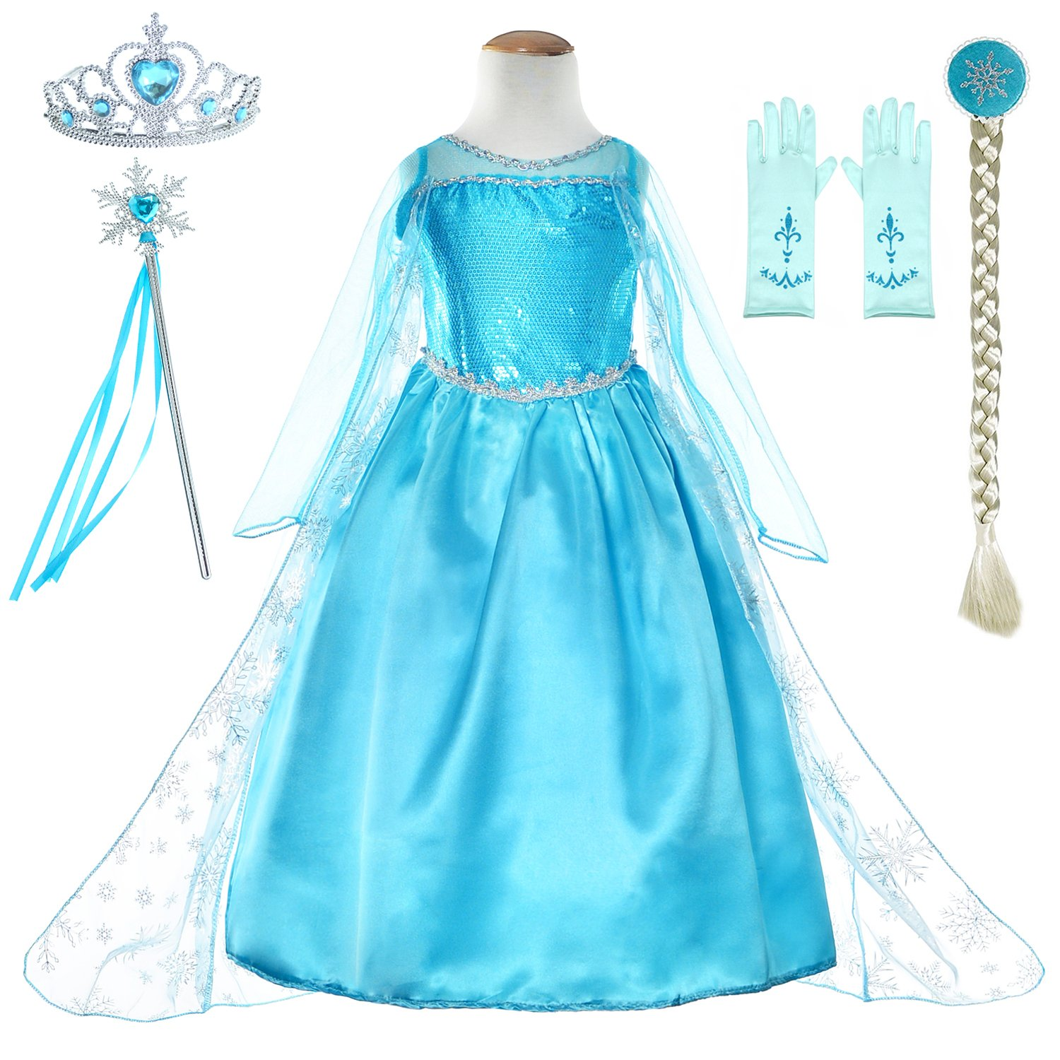 Snow Queen Princess Elsa Costumes Birthday Party Dress Up For Little Girls with Wig,Crown,Mace,Gloves Accessories 4T-5T(110cm)