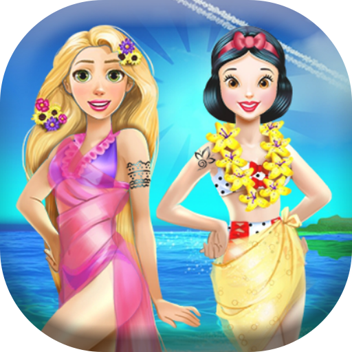 Dress up Rapunzel and Snow to summer