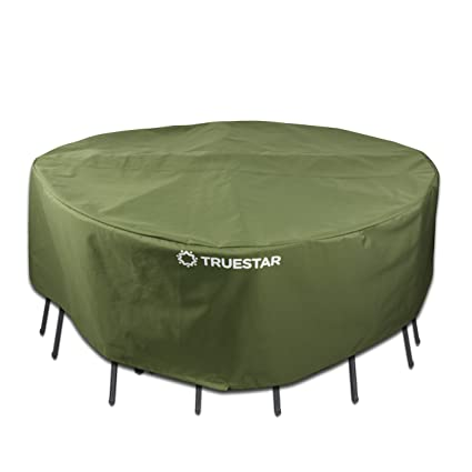 Truestar Veranda Round Patio Table and Chairs Cover 70 inch Water-Proof and Durable Outdoor Furniture Cover W/TPU & Acupuncture Cotton Dinning Set Cover, All Year Round Protection