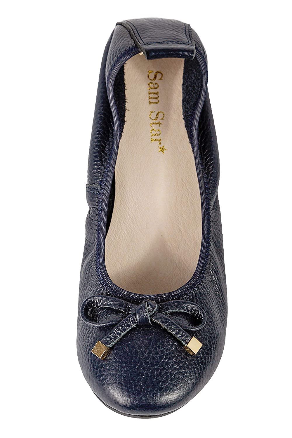 Premium Soft Comfortable Slip-On Modern Ballerina Flat with Genuine Leather Casual Rounded Toe Bow Design Flat for Woman