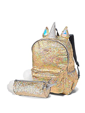 Amazon.com | Justice Set of 2 Flip Sequin School Backpack and Round Pencil Pouch Gold Unicorn | Kids Backpacks