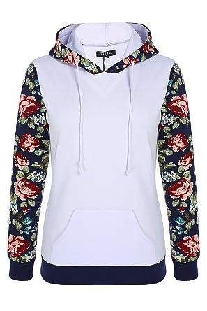 ACEVOG Women's Floral Printed Long Sleeve Hooded Pullover Hoodies ...
