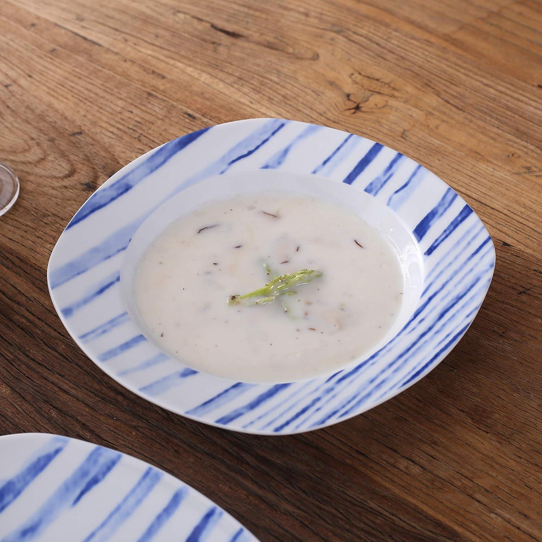 Service for 6 Dessert Plate JOYCE Series VEWEET 18-Piece Porcelain Dinnerware Set Ivory White Ceramic Plate Sets with Dinner Plate Soup Plate Boheme Blue