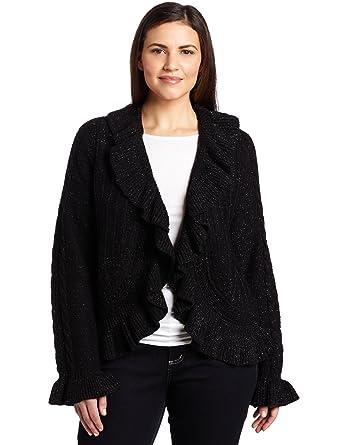 c318c4b8a85 AK Anne Klein Women s Plus Size Long Sleeve Ruffle Front Cardigan ...