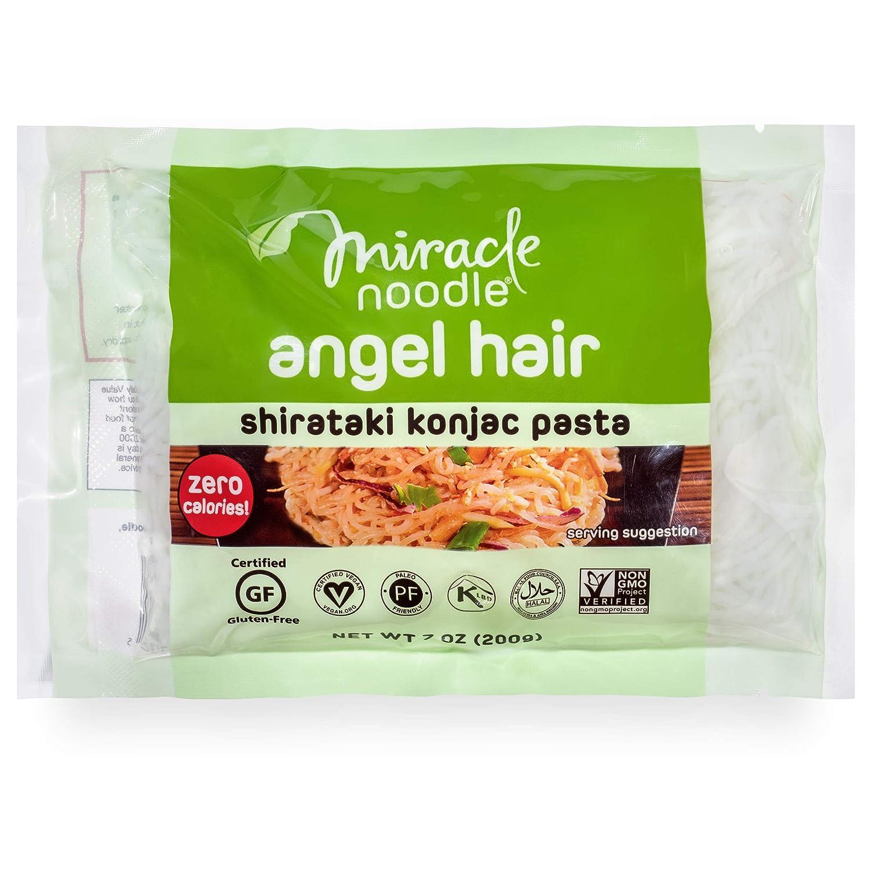 Miracle Noodle Shirataki Konjac Angel Hair Pasta, 7 oz (Pack of 6), Zero Carbs, Zero Calories, Gluten Free, Soy Free, Keto Friendly