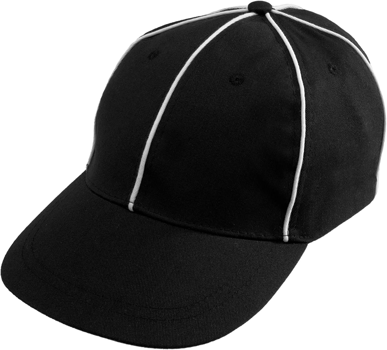 Crown Sporting Goods Official Referee Hat – Adjustable Black with White Stripes Ball Cap – Great for Football Refs, Umpires, Judges, & Linesman Uniforms