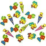 Oblique-Unique® ABC Schultüte 123 Zahlen Buchstaben Tisch Dekoration zur Schuleinführung - Konfetti Zuckertüte Einschulung Schulanfang