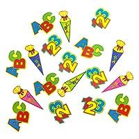 Oblique-Unique ABC Schultüte 123 Zahlen Buchstaben Tisch Dekoration zur Schuleinführung - Konfetti Zuckertüte Einschulung Schulanfang