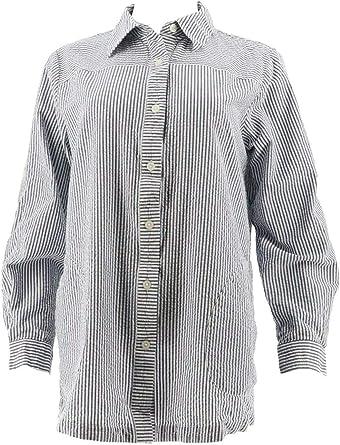 Joan Rivers Fabulously Seersucker Long Slv Boyfriend Shirt Navy M