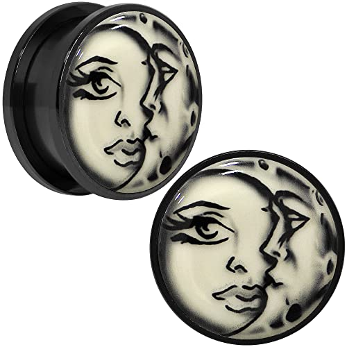 BODY CANDY NEGRO ANODIZADA ACERO INOXIDABLE Brilla en la oscuridad SOL Y LUNA Plug, Dilatación Par 20mm: Amazon.es: Joyería