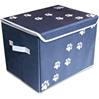 """Feline Ruff Large Dog Toys Storage Box 16"""" x 12"""" Pet Toy Storage Basket with Lid. Perfect Collapsible Canvas Bin for Cat Toys and Accessories Too! (Blue)"""