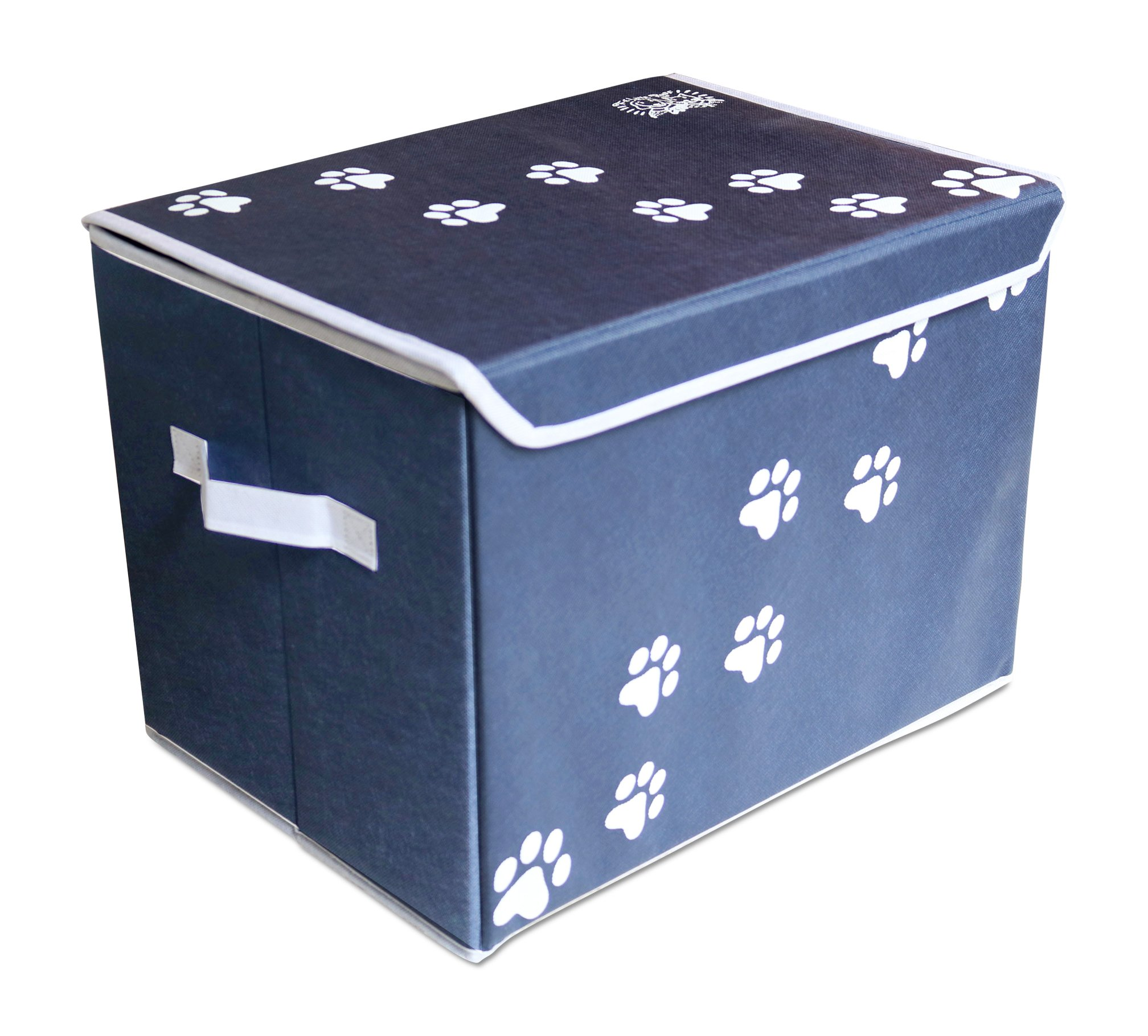 Feline Ruff Large Dog Toys Storage Box. 16″ x 12″ inch Pet Toy Storage Basket with Lid. Perfect Collapsible Canvas Bin for Cat Toys and Accessories Too!