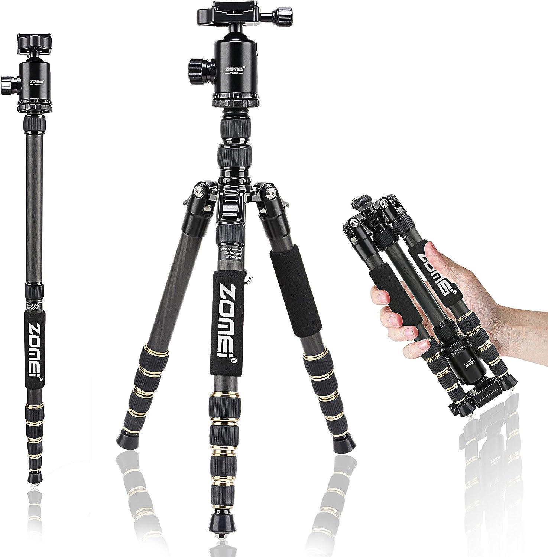 ZOMEI Z699C Carbon Fiber Portable Tripod with Ball Head Compact Travel for Canon,Sony, Nikon, Samsung, Panasonic, Olympus, Kodak, Fuji, Cameras and Video Camera