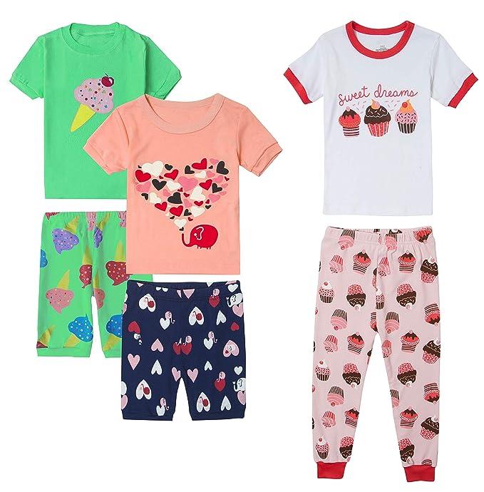 Amazon.com: Pijama corto para niña, 100% algodón, diseño de ...