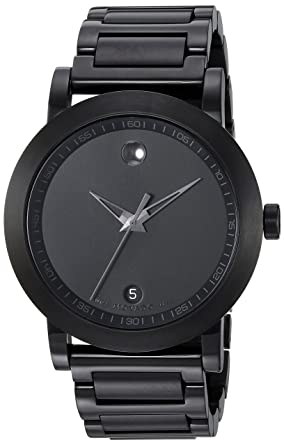 """695999051 Image Unavailable. Image not available for. Color: Movado Men's 0606615  """"Sport Museum"""" Black Stainless Steel Watch"""