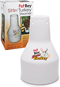 COOK'S CHOICE Ceramic Steamer Beer Can Roaster- Fat Boy Sittin' Turkey Marinade Barbecue Cooker- Extra Large Base for Sides Dishes and More