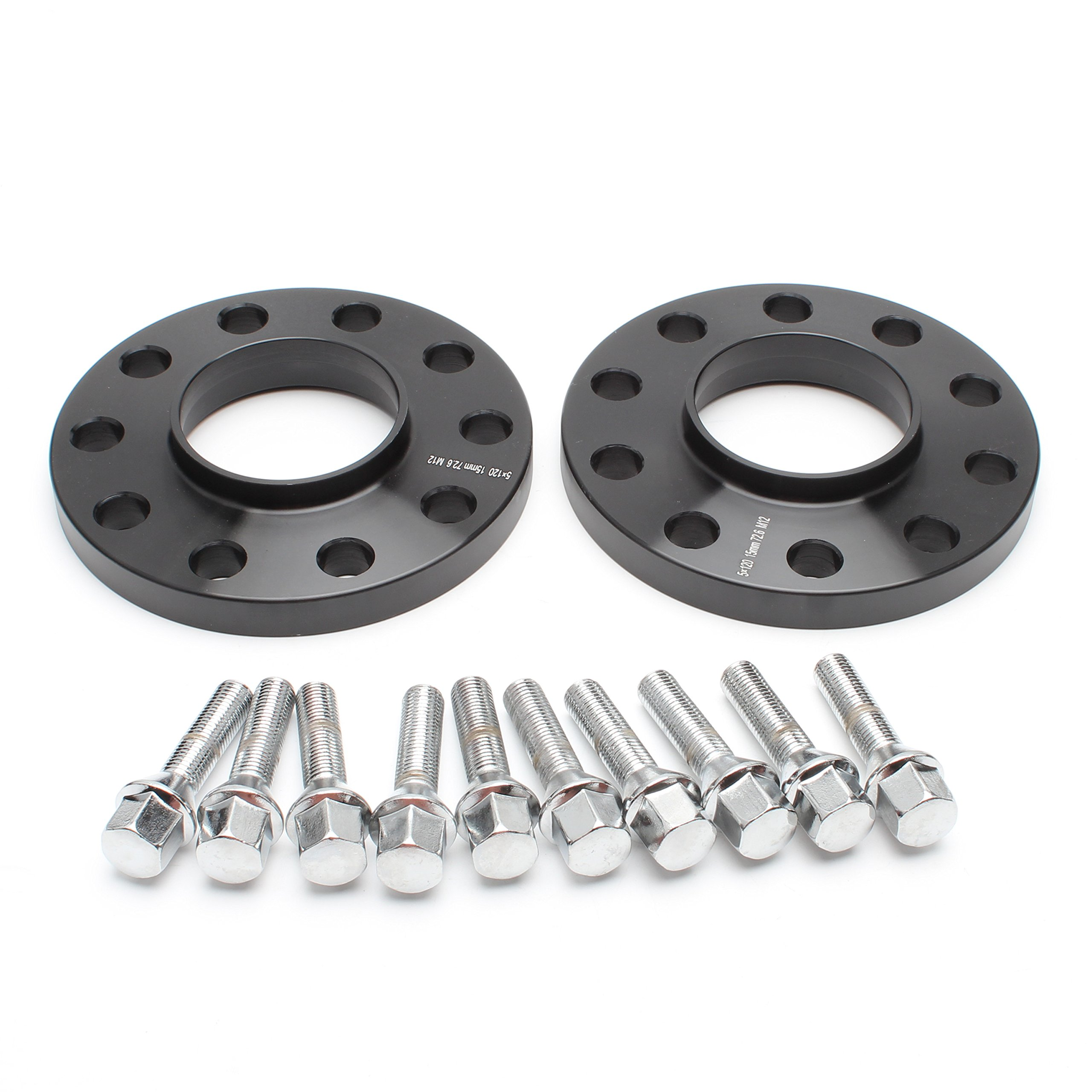 ZY Wheel 2pcs 15mm Black Hubcentric 5x120 Wheel Spacers (72.6mm bore) with 10pc Silver Lug Bolts (12x1.5) for many BMWs E36 E46 E90 E92 E60 318i 323i 325i 328i 330i 335i 525i 545i Z3 Z4 Z8 M3 X1 by ZY Wheel