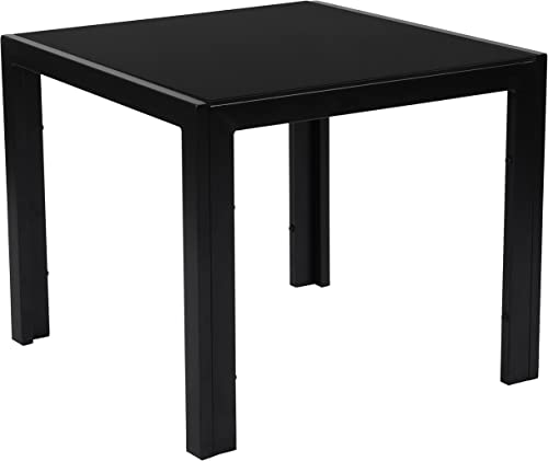 Flash Furniture Franklin Collection Sleek Black Glass End Table with Black Metal Legs