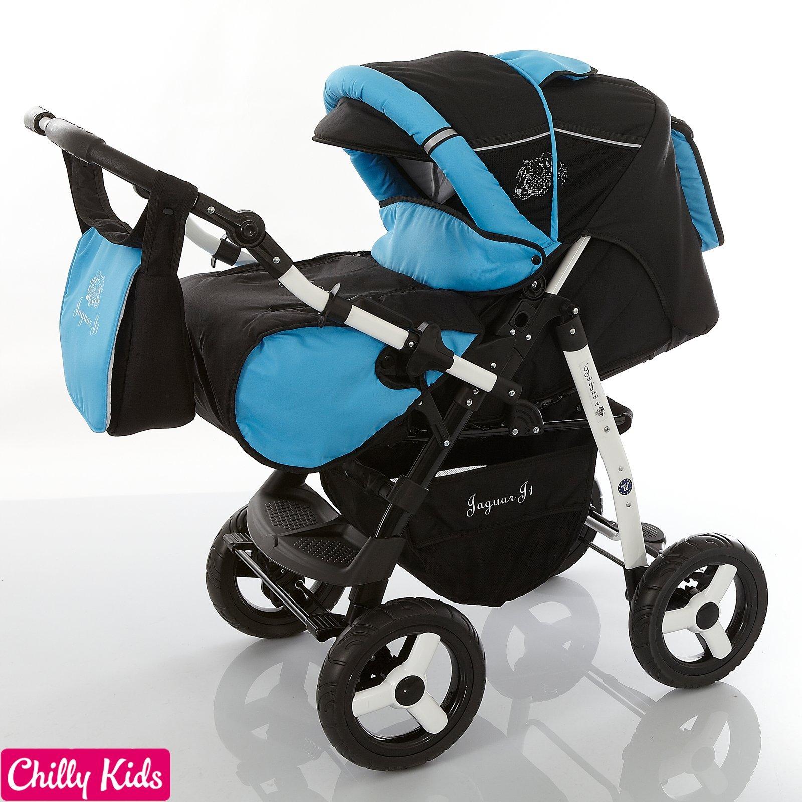 Chilly Kids Jaguar 2 in 1 Pram Combi Stroller & Pushchair (rain cover, mosquito net, 07 colors) 30 Black Shadow & Aqua