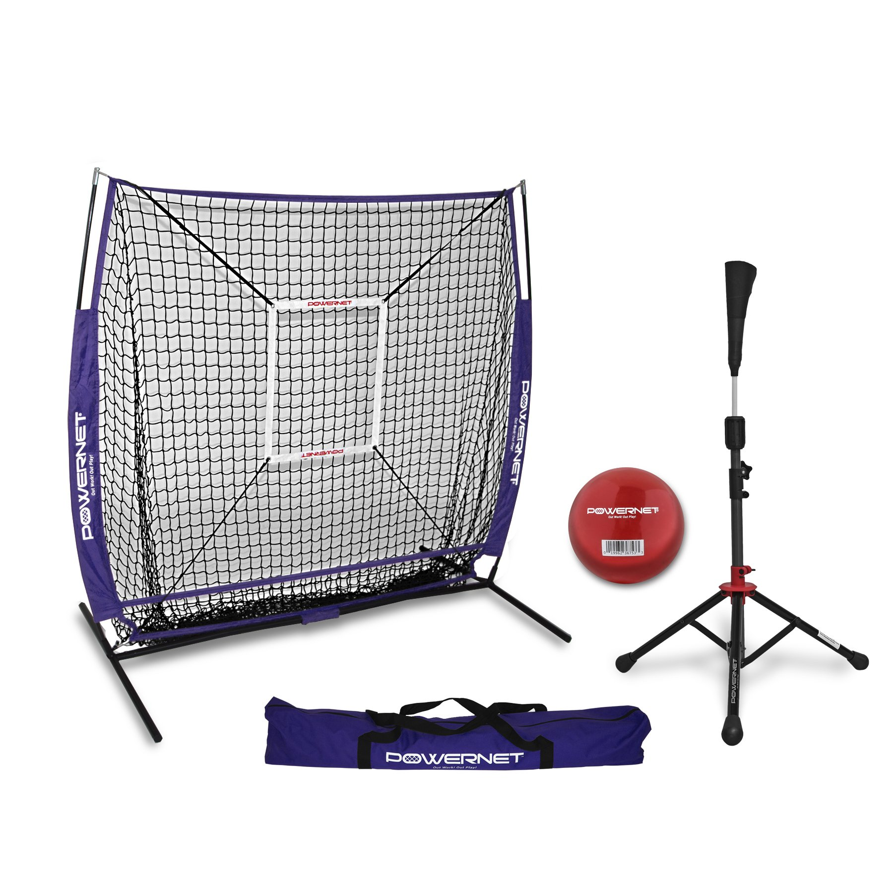 PowerNet 5x5 Practice Net + Deluxe Tee + Strike Zone + Weighted Training Ball Bundle (Purple) | Baseball Softball Pitching Batting Coaching Pack | Work on Pitch Accuracy | Build Plate Confidence