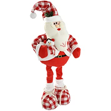 werchristmas 35 60 cm free standing christmas santa floor decoration with extendable legs in tartan