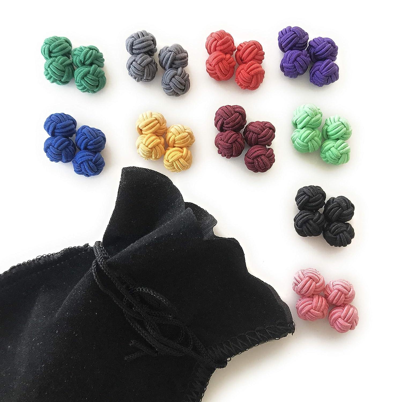 GENTLEMAN 10 high-quality single-colour silk knot cufflinks