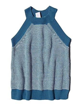 3fb4f856a98 Ann Taylor LOFT Women s - Teal Blue Striped Halter Sweater Tank Top (Medium)