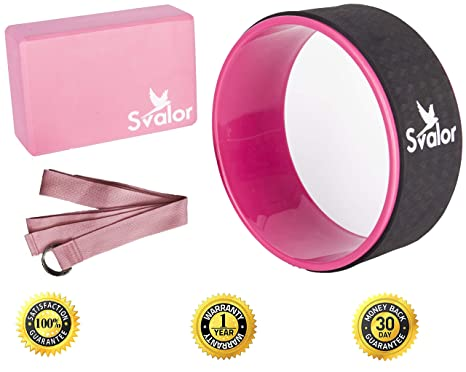 Svalor Yoga Wheel, Strap and Block Set | Most Comfortable Dharma Wheel, Strap and Block | Improve Back Bend, Helps with Flexibility | Bonus Yoga Wheel ...