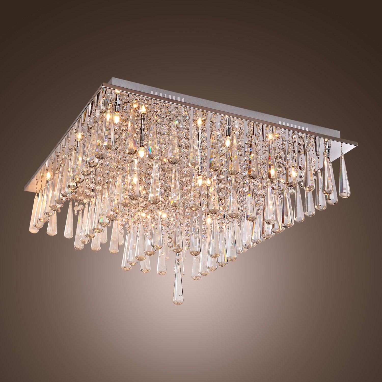 Lightinthebox Luxury Crystal Flush Mount Modern Chandelier Ceiling Light for Living Room G4 16 Bulbs Voltage=110-120V