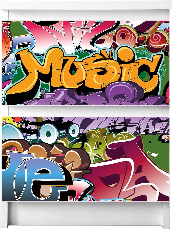 Wandtattoo Deko Mit Design Graffiti Fur 2 Schubladen Selbstklebende Mobelfolie Passend Fur Ikea Malm Kommode Banjado Mobelaufkleber Fur Kinder Zimmer Kuche Haushalt Wohnen Mobelaufkleber