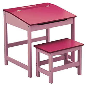 premier housewares children s desk and stool set pink amazon co