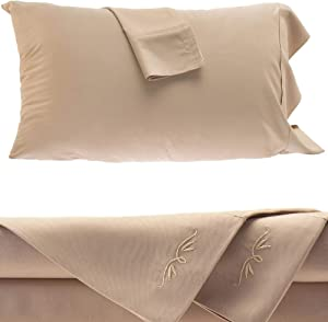 BedVoyage Bamboo Sheets - 4 Piece Bed Sheet Set - Hypoallergenic - 100% Rayon Viscose Bamboo (King, Champagne)