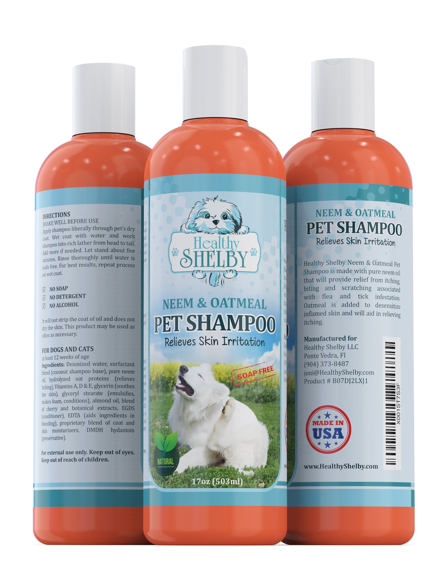 Healthy Shelby Neem & Oatmeal Pet Shampoo, Shampoo For Cats and Dogs, Soap and Detergent Free, Best Dog Shampoo For Itchy Skin, Dog Shampoo and Conditioner In One