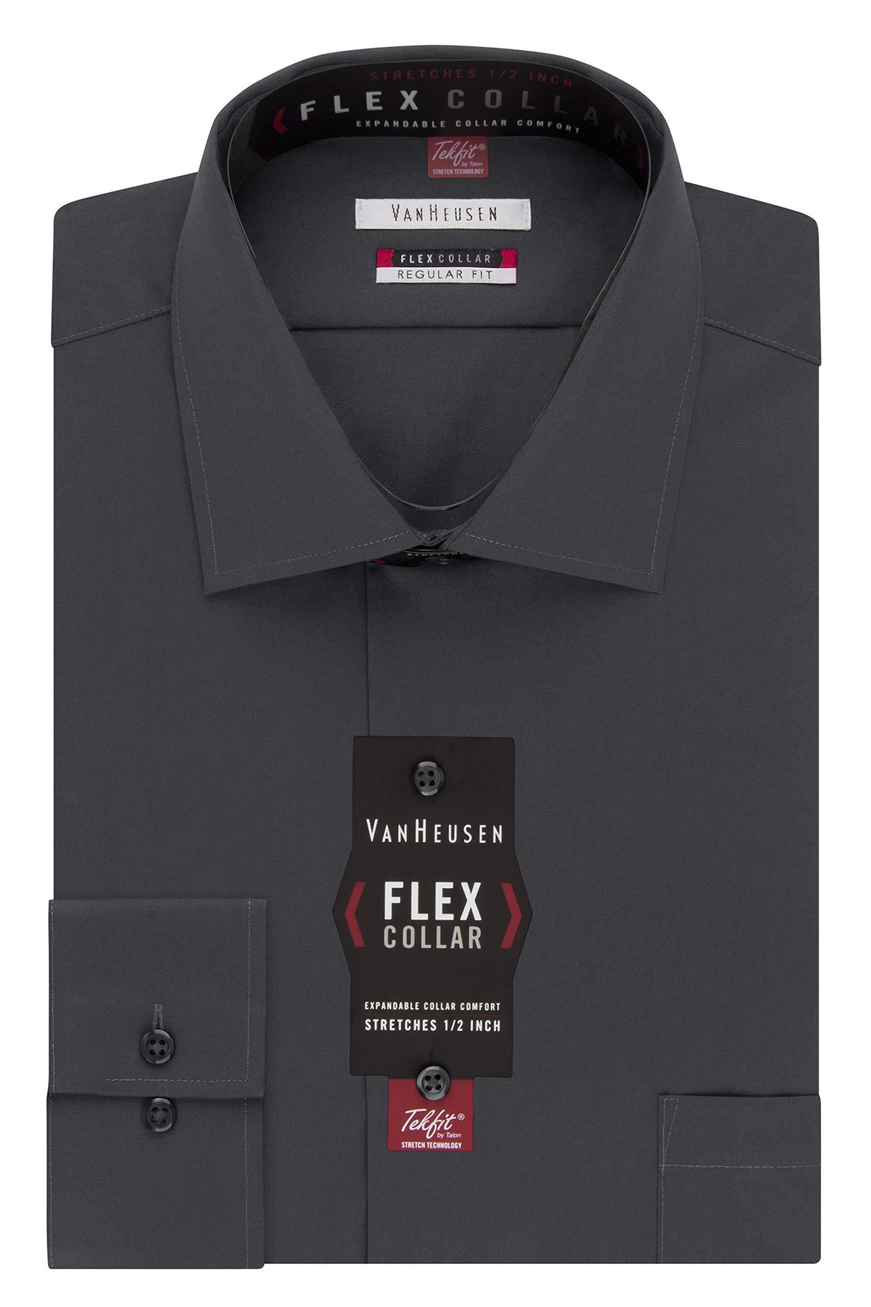 Van Heusen Men's Big and Tall Dress Shirt Regular Fit Flex Collar Solid, Charcoal, 18.5'' Neck 34''-35'' Sleeve