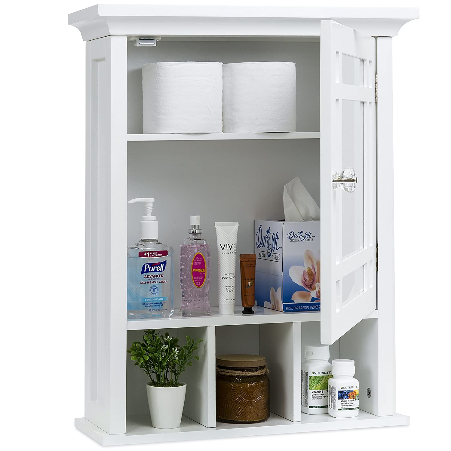 Best Choice Products Home Furniture Bathroom Vanity Mirror Wall Organizational Storage Cabinet - White