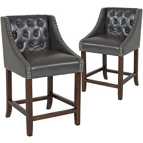 Remarkable Taylor Logan 2 Pk 24 High Transitional Tufted Walnut Counter Height Stool With Accent Nail Trim In Dark Gray Leather Forskolin Free Trial Chair Design Images Forskolin Free Trialorg