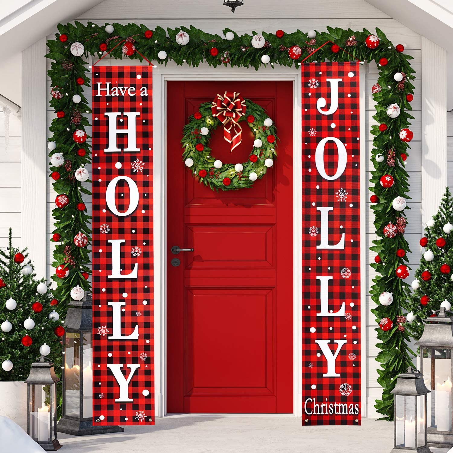 Christmas Banner Holly Jolly Red Black Buffalo Check Christmas Porch Sign for Holiday Home Indoor Outdoor Porch Wall Christmas Decoration