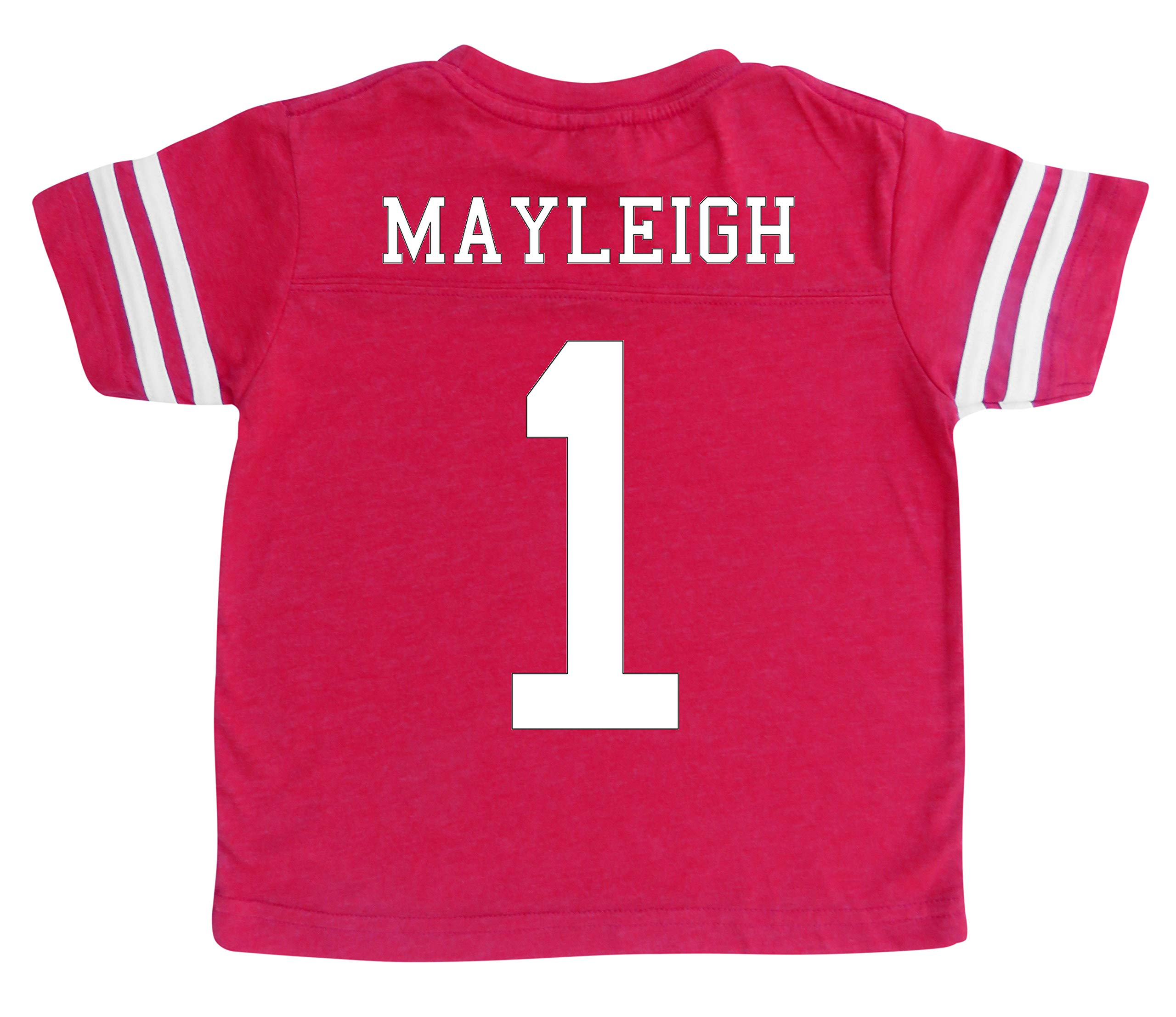 Custom Football Sport Jersey Toddler & Child Personalized with Name and Number (6/8 (Small), Vintage Red) by Rocket Bug