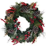 The Wreath Depot Somerset Winter Red Berry Wreath, 24 Inch