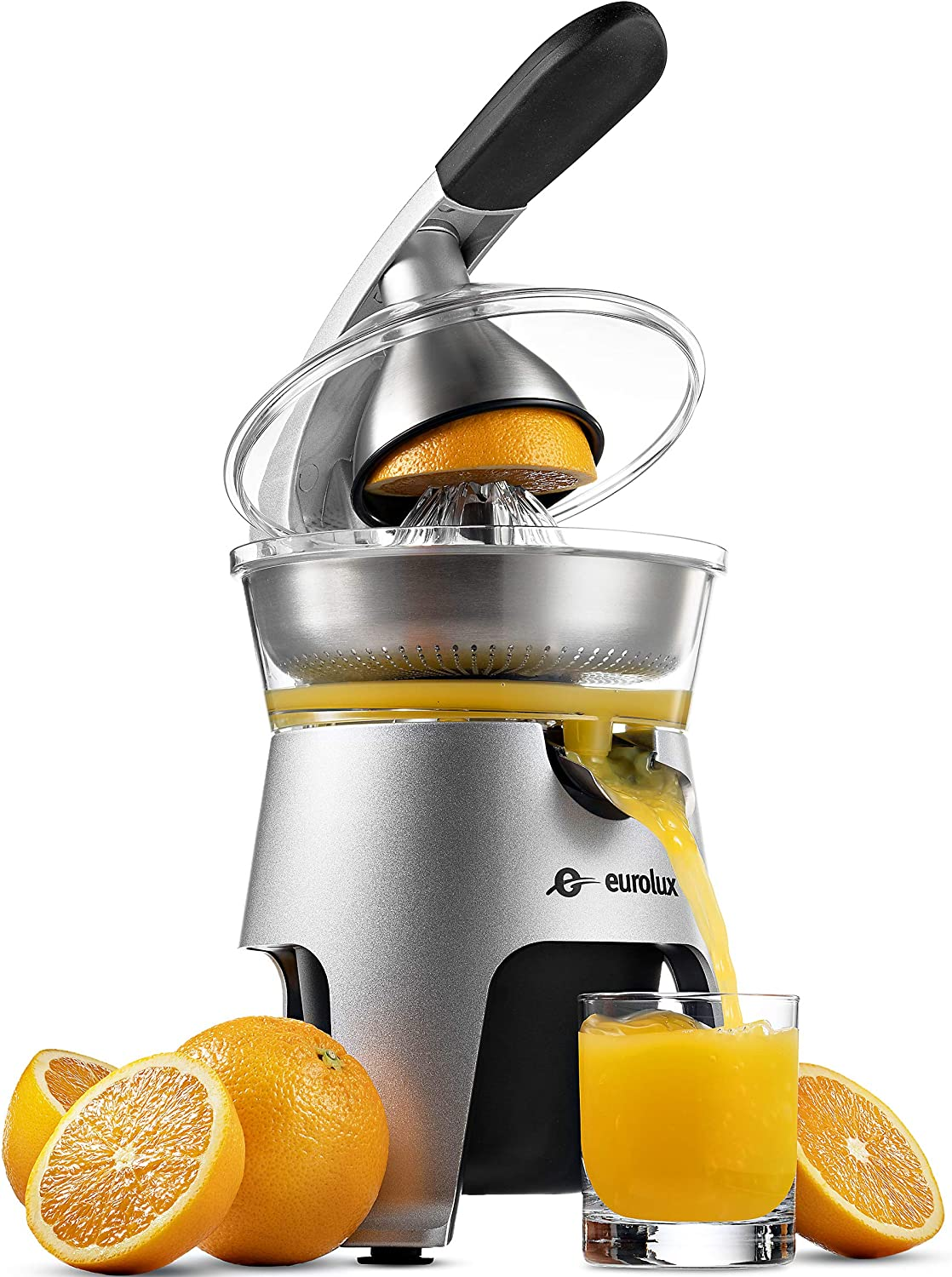 Eurolux Die Cast Stainless Steel Electric Citrus Juicer Squeezer, for Orange, Lemon, Grapefruit | 300 Watts of Power, With 2 Stainless Steel Filter Sizes for Pulp Control
