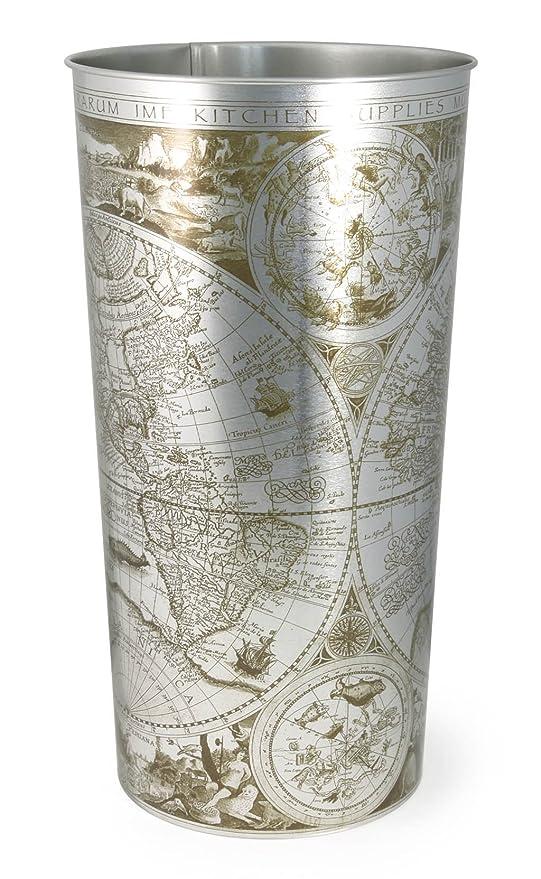Paragüero metálico decorado con plato (Mundo)