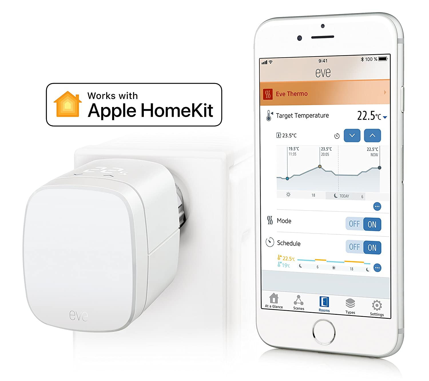 Eve Thermo - Válvula termostática para radiador con la tecnología HomeKit de Apple, controles táctiles integrados, pantalla LED, blanco: Amazon.es: ...