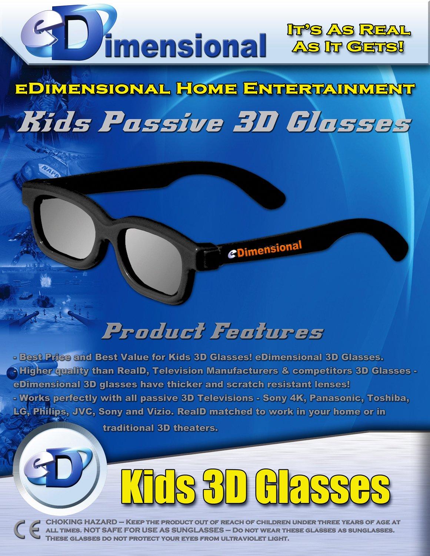 ED Family 4 Pack CINEMA 3D GLASSES KIT for LG 3D TVs - 2 Adult and 2 Kids Passive Circular Polarized 3D Glasses
