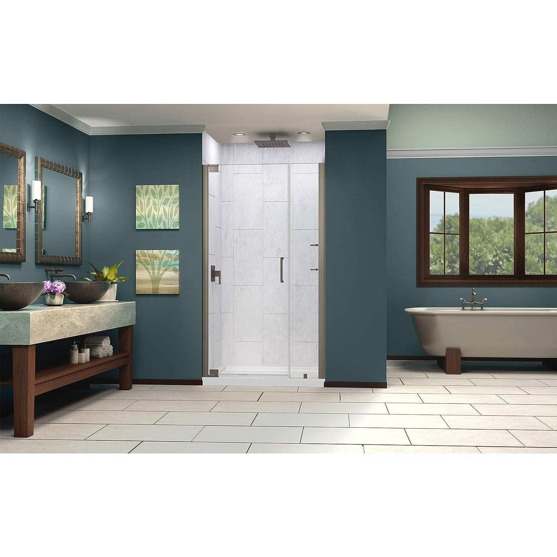 DreamLine Elegance 46-48 in. Width, Frameless Pivot Shower Door, 3 ...