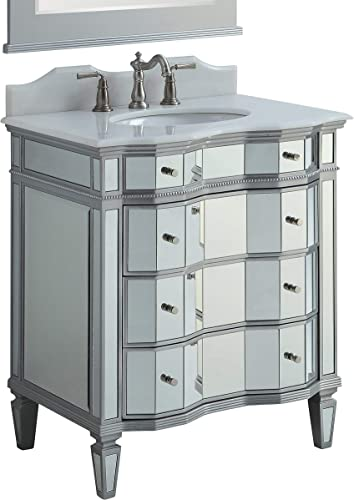 30 Benton Collection Mirrored w Silver Trim Bathroom Sink Vanity Cabinet – Ashley Model BWV-025 30