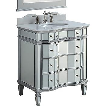 30 Mirrored W Silver Trim Bathroom Sink Vanity Cabinet Ashley Model Bwv 025 30